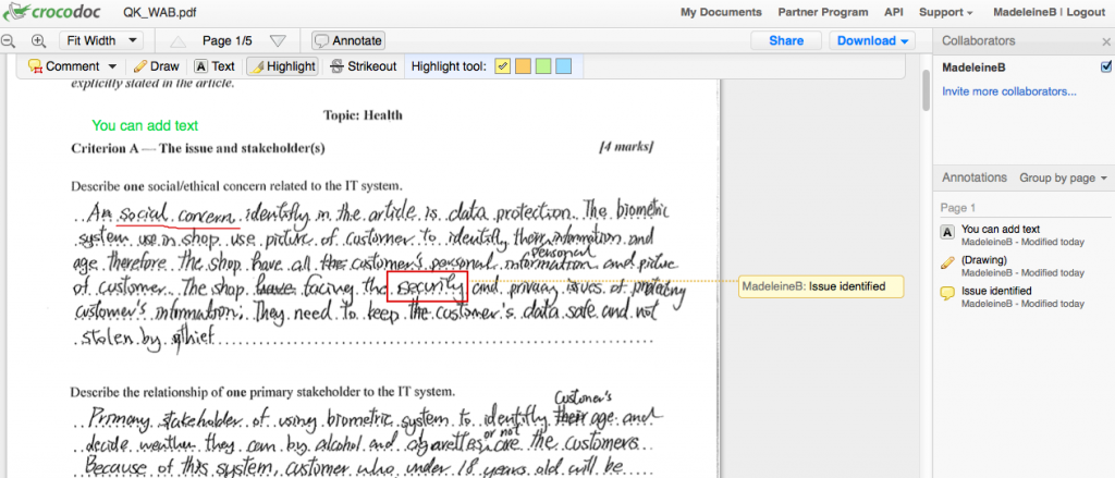 Example of editing student work