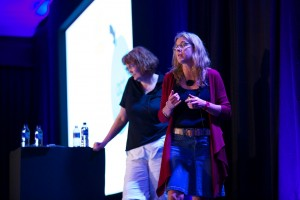 In full flow with Jeri (left). Photo by Daniel Woo